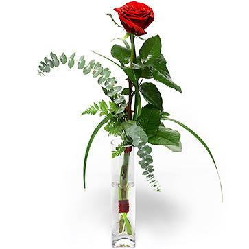 Bursaya çiçek yolla  1 adet kirmizi gül cam yada mika vazo içerisinde