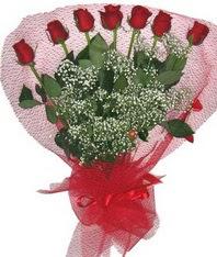 7 adet kipkirmizi gülden görsel buket  çiçek siparişi bursa