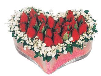 Bursaya çiçek yolla  mika kalpte kirmizi güller 9