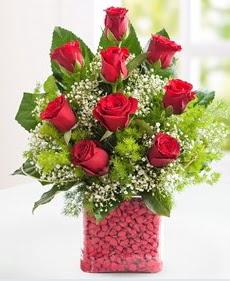 Cam içerisinde 9 adet kırmızı gül  Bursadaki çiçekçiler