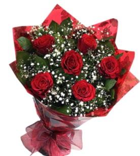 6 adet kırmızı gülden buket  Bursa çiçek satışı