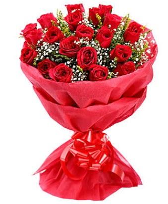 21 adet kırmızı gülden modern buket  online bursa çiçek siparişi