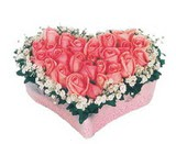 kalp içerisinde 9 adet pembe gül  bursa çiçekçiler çiçek satışı