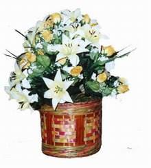 yapay karisik çiçek sepeti   Bursa çiçek gönder