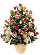 91 adet renkli gül aranjman   Bursa cicekci bursaya çiçek yolla