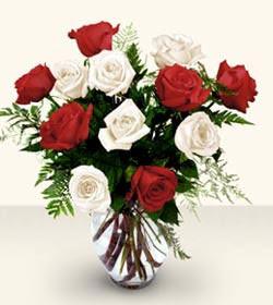 Bursa çiçek yollama çiçek satışı  6 adet kirmizi 6 adet beyaz gül cam içerisinde