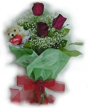3 adet gül ve küçük ayicik buketi  Bursa online çiçekçi