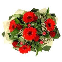 Bursadaki çiçekçi firmaları   5 adet kirmizi gül 5 adet gerbera demeti