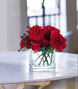 Bursadaki çiçekçi firmaları  kirmizinin sihri cam içinde görsel sade çiçekler