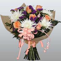 güller ve kir çiçekleri demeti   Bursa çiçek yolla çiçek , çiçekçi , çiçekçilik