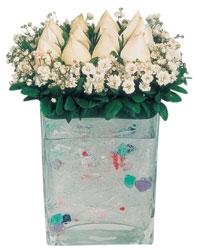 Bursaya çiçek siparişi  7 adet beyaz gül cam yada mika vazo tanzim