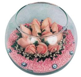 Bursadaki çiçekçiler  cam fanus içerisinde 10 adet gül