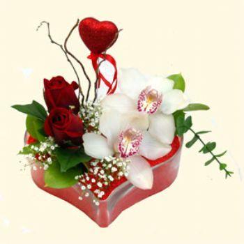 Bursadaki çiçekçiler  1 kandil orkide 5 adet kirmizi gül mika kalp