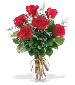Bursa çiçek gönder  cam yada mika vazoda 6 adet kirmizi gül