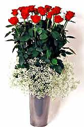 Bursa online çiçekçi  9 adet kirmizi gül cam yada mika vazoda