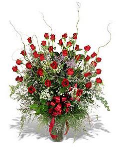Bursa çiçekçisi hediye çiçek yolla  33 adet kirmizi gül vazo içerisinde