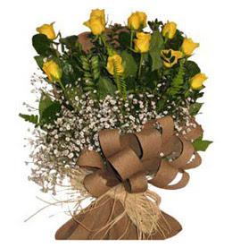 çiçek yolla bursa  9 adet sari gül buketi