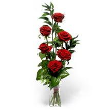 Bursa çiçekçisi hediye çiçek yolla  cam yada mika vazo içerisinde 6 adet kirmizi gül