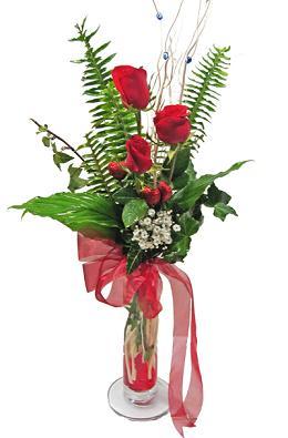 Çiçek gönderin cam vazoda 3 gül çiçekleri  Bursa çiçekçisi hediye çiçek yolla