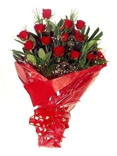 12 adet kirmizi gül buketi  Bursa çiçek yolla çiçek , çiçekçi , çiçekçilik