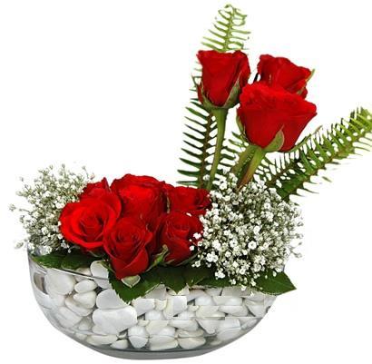 cam içerisinde 9 adet kirmizi gül  Bursa çiçek siparişi