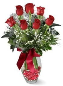 7 adet vazoda gül  Bursadaki çiçekçiler  kirmizi gül