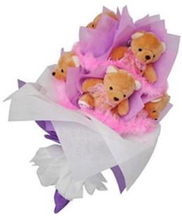 9 adet ayiciktan buket  Bursadaki çiçekçiler