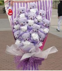 11 adet pelus ayicik buketi  Bursa cicekci bursaya çiçek yolla