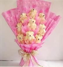 9 adet pelus ayicik buketi  Bursa çiçek ucuz çiçek gönder