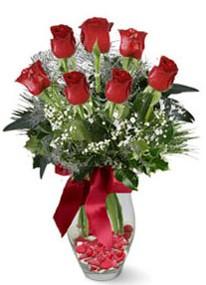 Bursa çiçek çiçekçi  7 adet kirmizi gül cam vazo yada mika vazoda