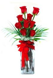 Bursaya çiçek yolla  9 adet mika yada cam vazoda gül tanzimi