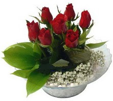 Bursadaki çiçekçiler  cam yada mika içerisinde 5 adet kirmizi gül