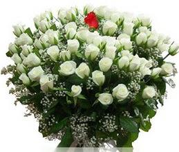 Bursadaki çiçekçiler  100 adet beyaz 1 adet kirmizi gül buketi