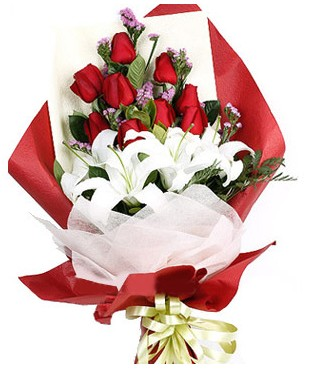 Bursa çiçek yolla çiçek , çiçekçi , çiçekçilik  1 dal kazablankaa 9 adet kırmızı gül buketi