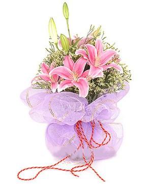 3 dal kazablanka görsel buketi  Bursadaki çiçekçiler