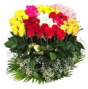 çiçek siparişi bursa  51 adet renkli güllerden aranjman tanzimi