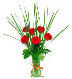 Bursa çiçek gönderimi  6 adet kırmızı güllerden vazo çiçeği