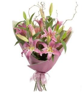 Bursa çiçek çiçekçi  3 dal cazablanca buket çiçeği