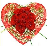 Mika kalp içerisinde 7 adet kırmızı gül  Bursaya çiçek siparişi