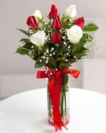 5 kırmızı 4 beyaz gül vazoda  Bursa çiçek gönder
