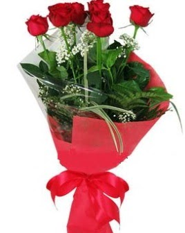 5 adet kırmızı gülden buket  Bursa çiçek gönderme merkezi