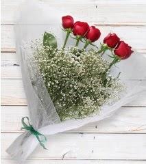 5 kırmızı gülden sade buket  çiçek yolla bursa