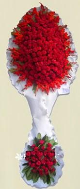 Çift katlı kıpkırmızı düğün açılış çiçeği  Bursa çiçek ucuz çiçek gönder