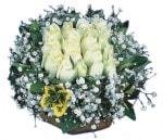 Bursa çiçek yolla çiçek , çiçekçi , çiçekçilik  Beyaz harika bir gül sepeti