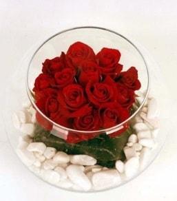 Cam fanusta 11 adet kırmızı gül  online bursa çiçek siparişi