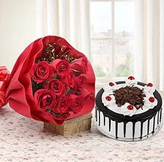 12 adet kırmızı gül 4 kişilik yaş pasta  Bursa çiçek gönderimi
