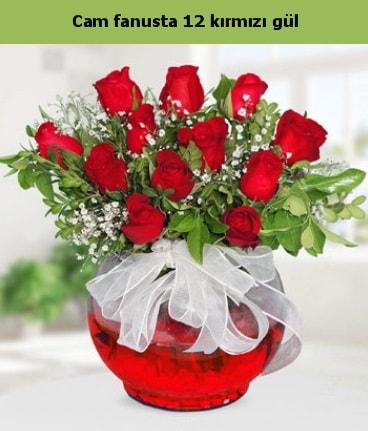 Cam içerisinde 12 adet kırmızı gül  Bursadaki çiçekçiler