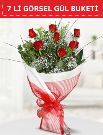 7 adet kırmızı gül buketi Aşk budur  bursa çiçekçiler çiçek satışı
