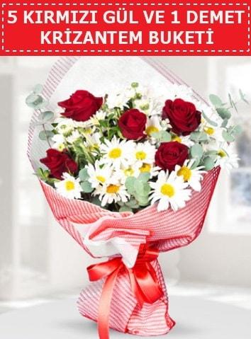 5 adet kırmızı gül ve krizantem buketi  bursa çiçekçiler çiçek satışı