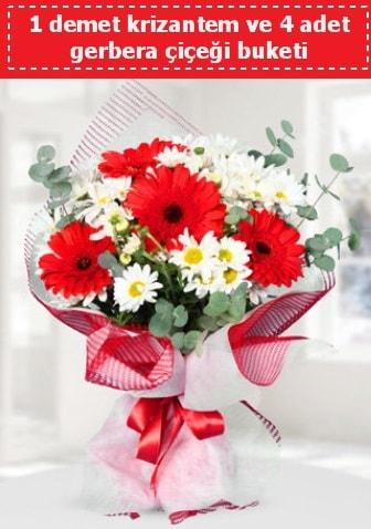 Krizantem ve Gerbera Buketi  Bursa çiçekçisi hediye çiçek yolla